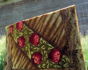 "Antique Horse Hair carriage Blanket 64x51"" double sided Heavy Red Rose Buds"