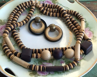 Vintage  Beaded wood necklace and earring set Boho Big 80's