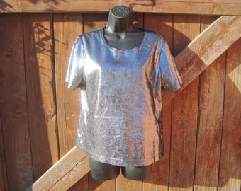 Vintage Silver Metallic Blouse by California Concepts Size S