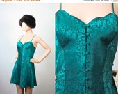 Vintage Victoria's Secret Babydoll Nightie / Teal Lingerie Teddy / Sleepwear Pajamas / Boudoir Mini Dress / Gold Crown Label / Small