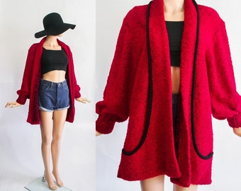 Vintage Nubby Knit Cardigan / Oversized Jumper /  Slouchy + Chunky / Red / Cocoon Sweater Jacket / Grunge / Bouclé Poodle / Open Size