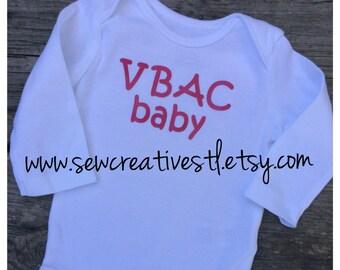 VBAC baby onesie long sleeves