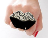 Lip Ring Ceramic Ring - statement ring, lip art, big ring, ceramics and pottery, handmade by StudioLeanne - 2.2 inch