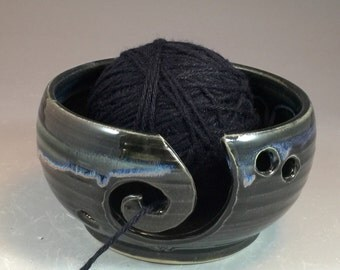 Ready to ship- Wheel Thrown Yarn Bowl with Spiral in Black with blue purple accent drips