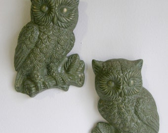 1970s pair of green wall owls.