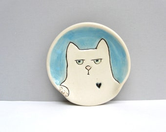 Ceramic Spoon Rest with Surly Cat or Kitty, Blue and White Spoon Rest For The Kitchen, Cat Pottery or Animal Pottery, Cat Lovers Gift
