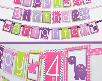 Girl Dinosaur Birthday Party Banner Decorations Fully Assembled | Girly Dinosaur | Pink Purple Green | Girly Dinosaur Party | Pink Dinosaur