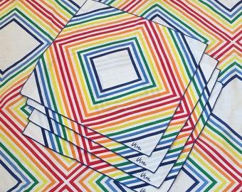 1970s Vintage Rainbow Linens by Vera Neumann - Rainbow Stripe - Geometric Rainbow - Rainbow Party - Graphic - Tablecloth and Napkin Set