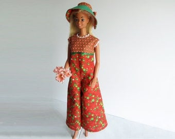 Barbie Clothes Orange Retro Big Leg Jumpsuit Handmade in Green Polka Dots with Hat 1970's style - Glendalee