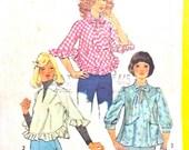 Uncut Simplicity 5747  1970s  Misses' Set of Tops Shirts  bias tops Ruffle Raglan Sleeves Blouses Women's Vintage Sewing Pattern Bust 32.5