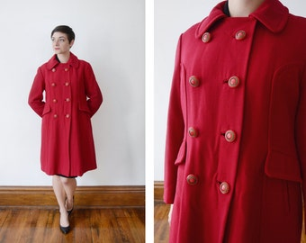 1960s Red Double Breasted Coat - S/M