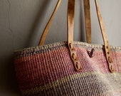 RESERVED.......Vintage WOVEN  Market Tote Jute Bag 1970s 1980s ~ Large Tote