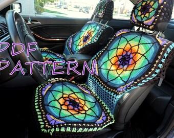 Vibrant crochet seat covers - PDF PATTERN