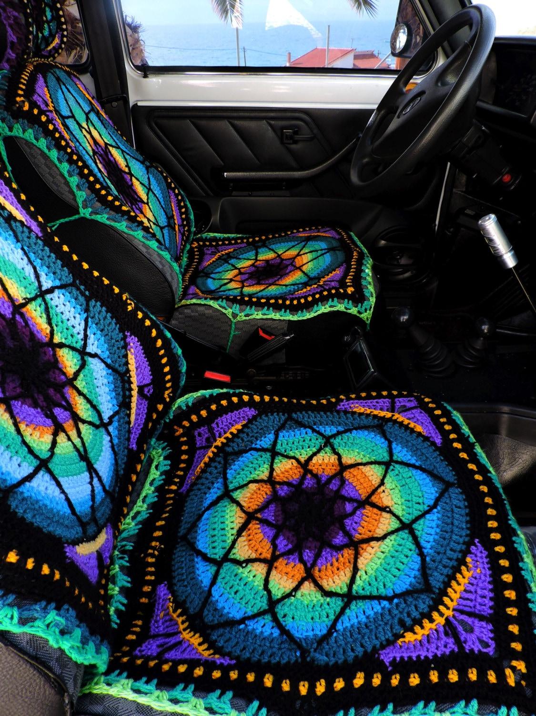 vibrant crochet car seat cover front only. Black Bedroom Furniture Sets. Home Design Ideas