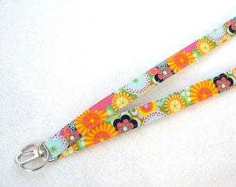 Oriental Floral Fabric Lanyard ID Badge Holder Breakaway Lanyard Key Ring Fob Modern Mums Blossoms Colorful MTO