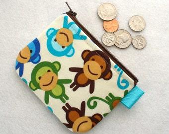 Boys Mini Coin Purse Monkeys Mini Change Purse Little Zipper Coin Pouch Urban Zoologie Anne Kelle Blue Brown Green Handmade MTO