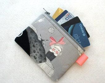 Ghastlies Halloween Coin Purse Wallet Business Card Holder Credit Card Case Zippered Alexander Henry Gray Cordelia Ghastlie Black Cat GNS