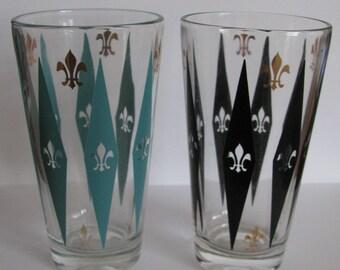 Vintage Mid Century Modern Turquoise and Black Fleur de Lis Diamond Bar Drinking Glasses