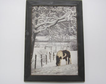 Horse,Western, Wall Decor Framed Artwork, Handmade Frame, Distressed Frame,141/2x201/2,Paint In The Snow