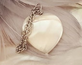 White pearl pendant Heart shaped mother of pearl  interchangable White Dove Jewels Collection