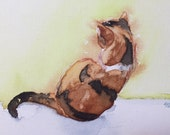 Lucky the Calico Cat Original Watercolor Painting