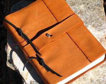 Brown/Orange Handmade Leather Bound Journal