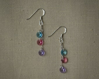 Tiered round Swarovski crystal dangling earrings