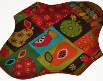 Light Hemp Core- Fruit Nation Reusable Cloth Pantyliner Pad- WindPro Fleece- 8.5 Inches