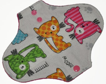 Light Hemp Core- Colorful Cats Flannel Reusable Cloth Pantyliner Pad- 8.5 Inches