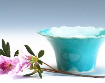 Shiny Aqua Green Lotus Bowl / Ceramic Vessel