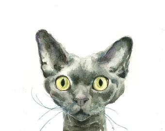 Cat Painting Digital download art - Printable fine art instant download print - From my Devon Rex Cat Watercolor Painting