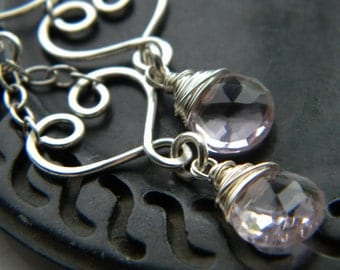 My Love - Sterling silver heart and rose pink quartz dangle earrings - handmade wire wrapped jewelry