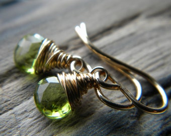 Tiny bright green faceted peridot briolette 14k gold filled earrings - handmade wire wrapped jewelry