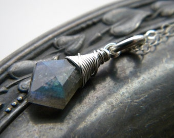 Bright sterling silver blue flash labradorite solitaire necklace - wire wrapped handmade jewelry