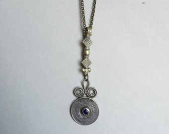 One of a Kind Afghan Coin Necklace with Blue Glass Stone
