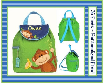 36 Fonts- Toddler MONKEY Smaller Personalized Quilted Backpack- Boy's Lime Green and Blue Preschool/ Day Care/ Diaper Bag