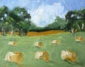 IMPRESSIONIST Painting Plein Air Landscape CALIFORNIA Ojai Hay Bales Art Lynne French 6x8