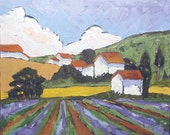 Impressionist Landscape Oil Painting PROVENCE LAVENDER Lynne French 16x20