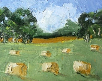 IMPRESSIONIST Painting Plein Air Landscape CALIFORNIA Ojai Hay Bales Art Lynne French 6x8