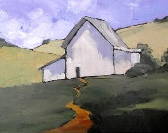 Original Impressionist Painting CALIFORNIA Plein Air Landscape Hillside BARN Farm Lynne French 12x16