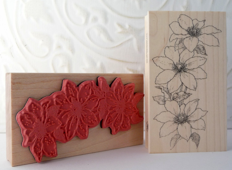 Clematis Flower Rubber Stamp From Oldislandstamps