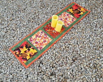 Handmade Autumn Decor, Table Runner, Fall Table Quilt, Fall Decorations, Autumn Decor, Leaves and Acorns, Quilts, Quiltsy Handmade