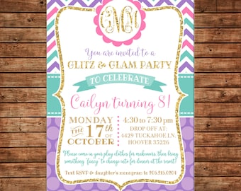 Glitter Gold Chevron Polka Dot Glitz Glam Glamour Monogram Birthday Party Invitation - DIGITAL FILE