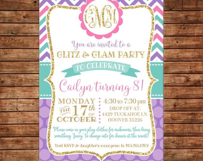 Glitter Gold Chevron Polka Dot Glitz Glam Glamour Monogram Birthday Party Invitation - DIGITAL FILE