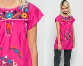 Mexican Blouse EMBROIDERED Top Hippie Boho Shirt FESTIVAL Hot Pink Cotton Tunic Bohemian Floral Vintage Ethnic Smock Tent Extra Small xs