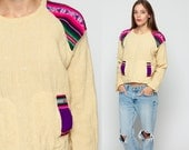 Mexican Embroidered Blouse Ethnic Crop Top WOOL 80s Hippie Shirt Tunic Top Boho 70s AZTEC Bohemian Festival Beige Retro  Medium