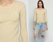 Plain Shirt WOOL Undershirt Long Sleeve Shirt Sheer Cream Sweater 80s T Shirt Grunge Top Hipster Retro Vintage Normcore Basic Extra Small Xs