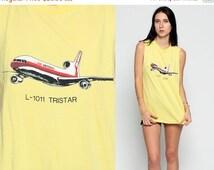 ON SALE Airplane Shirt 80s Graphic Tshirt AIR America Jet Paper Thin Retro Shirt Vintage Retro T Shirt 1980s Graphic Print Yellow Medium lar