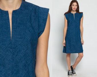 Blue Dress 70s Boho Mini Shift Mod Plain Cap Sleeve A Line Hippie Vintage 1970s Navy Sheath Bohemian Retro Small