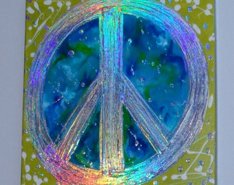 Original Abstract Painting 12x12 Handpainted Peace Sign Acrylic Colorful Unique Heather Montgomery Art